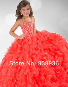 2014 Cute Orange Girl s Pageant Gowns Halter Beads Ball Gown Ruffled  Backless Lace Up Beautiful Charming 31e66feb933a