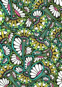 Ornamental stylized floral pattern, original art drawing, art nouveau style, wall decoration -