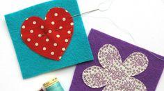 Shapes sewn onto colourful fabric | Fabric and felt brooches | Tesco Living