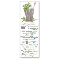 Flour Sack Towel Mint Julip Recipe
