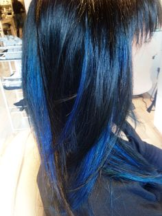 true Blue hair on natural Black  #Hair #Haircare #Hairstyles #HairColour #HairColor #Ombre #Sombre #Balayage #Blonde #Red #Copper #HairStylist #Colourist #Makeover #Hairgoals #PaiShau Blond, Ombre Sombre, Color Correction, Hair Ideas, Long Hair Styles, Beauty, Color Grading, Long Hair Hairdos, Long Haircuts