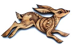Wood Hare Wall Hanging with Pyrography Wood by GlenoutherCrafts