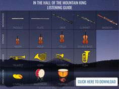 Ideas and free resources for teaching instruments in elementary music using In the Hall of the Mountain King.