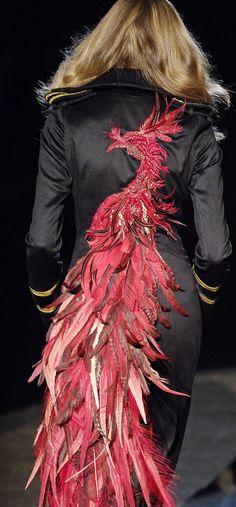 Roberto Cavalli Ready-to-Wear Fall / Winter 2006 Runway Fashion, Fashion Art, High Fashion, Fashion Show, Fashion Design, Couture Details, Fashion Details, Firebird, Dali