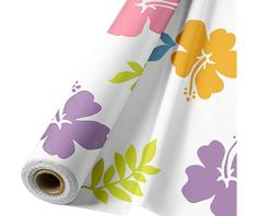 100' for $19.99 - I'm thinking as a table runner - Hibiscus White Plastic Table Cover Roll 100ft - Party City