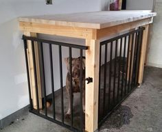 Garage dog kennel /workbench - Tap the pin for the most adorable pawtastic fur b. Garage dog kennel /workbench – Tap the pin for the most adorable pawtastic fur b… , Dog Kennel Cover, Diy Dog Kennel, Kennel Ideas, Dog Kennels, Dog Kennel Flooring, Building A Dog Kennel, Dog Kennel Designs, Dog Crate Furniture, Home Luxury