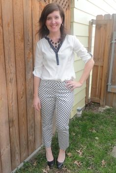 HK Style Journey Blog: #black and white, #outfit, #polka dot pants, #graphic print, #work outfit, @Vinod Pillai York & Company