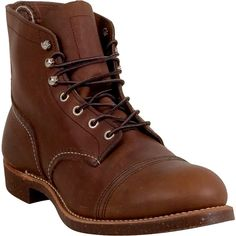 Red Wing Shoes Iron Ranger Unisex  Boot ($320) ❤ liked on Polyvore featuring men's fashion, men's shoes, men's boots, men's work boots, shoes, brown leather, mens rugged boots, mens cap toe boots, mens leather cap toe boots and mens leather harness boots