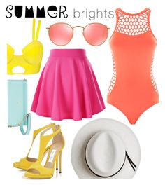 """Summer Brights"" by mikijxx ❤ liked on Polyvore featuring Calypso Private Label, Seafolly, Ray-Ban, Kate Spade and summerbrights"