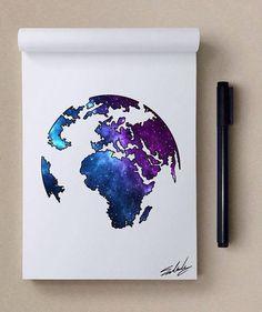 art, galaxy, and world kép