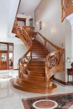 Home Stairs Design, Railing Design, Interior Stairs, Door Design, Exterior Design, Home Interior Design, House Design, Stair Design, Wooden Staircase Design
