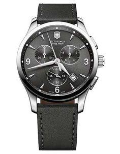 Swiss Army Mens Alliance Chrono - Dark Gray/Black Dial - Black Leather Strap