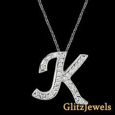 "18K White Gold 0.25 Ctw Round Brilliant SI/G-H Diamond Initial K Pendant With 18"" Chain  http://www.glitzdiamond.com/product/22122/18K_White_Gold_0.25_Ctw_Round_Brilliant_SI_G-H_Diamond_Initial_K_Pendant_With_18%22_Chain/"