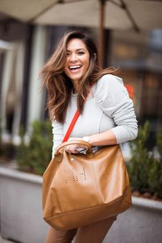 Marianna Hewitt with her Longchamp Le Pliage Cuir Personalized | Outlet Value Blog