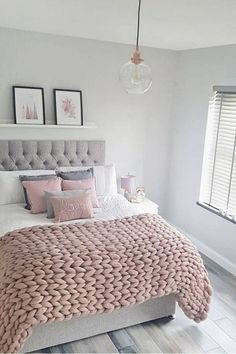 Home Bedroom Design Idea Grey House Furniture Bedding Home Bedroom Design, Room Decor Bedroom, Girls Bedroom, White Bedroom, Grey Bedroom Walls, Bedroom Decor Grey Pink, Pink And Grey Bedding, Pink And Grey Room, Light Pink Bedrooms