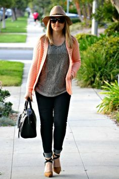 Just Peachy: Wearing @Marshalls #fabfound sweater, embellished grey top and black leather bag!