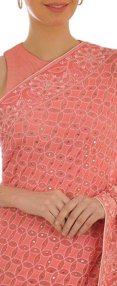 Heirloom Pick Salmon Pink Chikankari And kamdaani Saree Chikankari Suits, Indian Heritage, Work Party, Global Brands, Indian Sarees, Indian Wear, Handicraft, Blouse Designs, Kurti