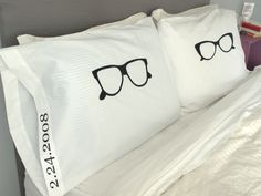 His and Hers Pillows, Cool Pillow Cases, Glasses Pillow, Unique Pillow Case Set, Love Pillow Cases from OSusannahs on Etsy. Cool Glasses, Eye Glasses, Aviator Glasses, Anniversary Present, Decorative Pillow Cases, Hats For Women, Valentine Day Gifts, Cool Stuff, Stuff To Buy