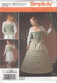 Simplicity 2621 Elizabethan Corset Shift Farthingale and Bum Roll by SarahBethsCottage on Etsy, $10.00