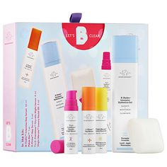 Shop Drunk Elephant's Let's B Clear Holiday Kit at Sephora. This set features morning and night treatments to brighten and clear the skin.