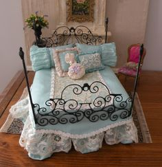 Dollhouse Miniature 1:12 Scale Artisan Dressed Wrought Iron Bed