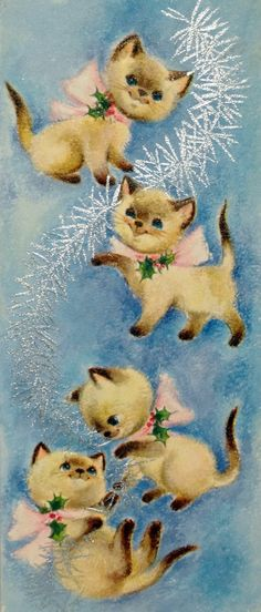 Sweet Siamese Kitty Cats with Tinsel Vintage Christmas Card Greeting - Christmas Cards Vintage Christmas Images, Old Christmas, Christmas Scenes, Christmas Animals, Retro Christmas, Vintage Holiday, Christmas Pictures, Christmas Tinsel, Vintage Greeting Cards