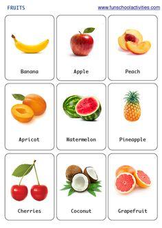 Printable fruits flashcards.