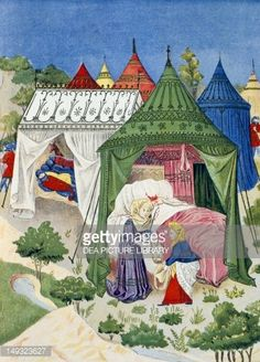 Kunst : Pavilions and tents from the 15th century, detail from the History of Judith, 1878, engraving from Dictionary of Furniture and Decoration, Volume III, by Henry Havard.