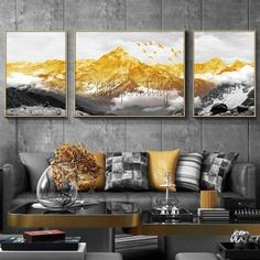 3 pieces gold art painting on canvas wall art pictures for living room wall decor original abstract