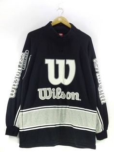 99e710994a77 Vintage 90 s Wilson Big W Spell Out Black White Sweatshirt Pullover Jumper  Streetwear Hip Hop Size Large