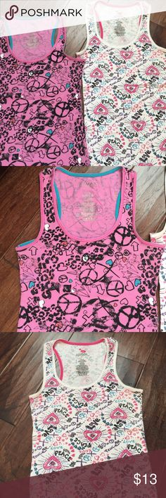 Peace & Love tank tops Both size large but I fit more like medium. Perfect for summer; just add shorts and flip flops. Miley Cyrus MaxAzira  Tops Tank Tops
