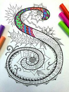 Letter S Zentangle Inspired by the font Harrington von DJPenscript (Favorite Ideas Fun) Doodles Zentangles, Zentangle Patterns, Zen Doodle, Doodle Art, Doodle Lettering, Hand Lettering, Coloring Books, Coloring Pages, Vintage Diy