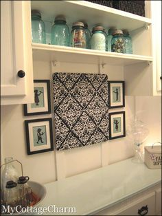 Laundry Room.This would be cute, to match a hanging Ironing Board cover... for lost socks