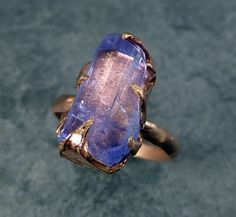 Raw Tanzanite Crystal Rose Gold Ring Rough Uncut by byAngeline