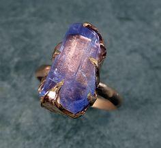Raw Tanzanite Crystal Rose Gold Ring Rough Uncut by byAngeline