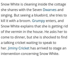 ABCs Once Upon a Time.  Grumpy asked Snow what she is doing.  Snow replys, 'getting rid of the vermin!'