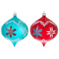 Aqua & Red Onion Ornaments with White Snowflakes