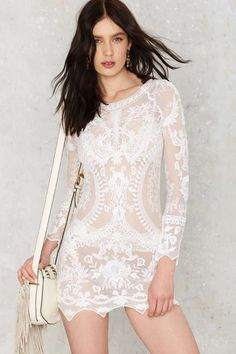 Call Out Lace Dress - White - Dresses : white