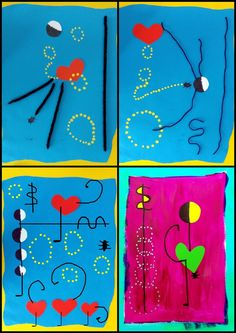 Valentine's Day Crafts For Kids, Art For Kids, Joan Miro Pinturas, Art History Major, Ecole Art, Inspiration For Kids, Preschool Art, Valentine Day Crafts, Art Plastique