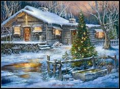 Cabin on a Cold Creek F - Winter Wallpaper ID 1883824 - Desktop Nexus Nature Log Cabin Christmas, Christmas Scenery, Old Time Christmas, Christmas Past, Vintage Christmas Cards, Country Christmas, Christmas Pictures, Winter Christmas, Christmas Puzzle