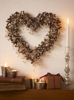 New Gisela Graham Large Twig Heart Wreath Wedding Gift Home Decoration Heart Christmas Hearts, Rustic Christmas, Christmas Wreaths, Christmas Decorations, Holiday Decor, Xmas, Twig Wreath, Heart Wreath, Door Wreaths