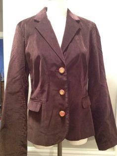 Tory Burch Brown Velvet Logo Buttons Jacket Sz 6 #ToryBurch #blazer