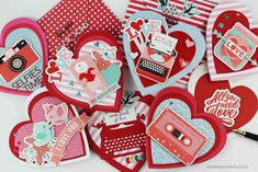 Bibi Cameron : 11 Valentine's cards ideas + Spellbinders Card Kit of the Month Jan 2019 Diy Valentines Cards, Spellbinders Cards, Shaped Cards, Friendship Cards, Card Kit, Craft Kits, Mini Albums, Card Making, Paper Crafts