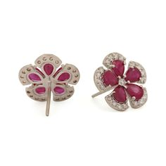 Genuine Ruby Flower Stud Earrings Solid Pave Diamond 14K White Gold Fine Jewelry #Handmade #Stud Solid Gold Jewelry, Fine Jewelry, Sapphire Diamond, Blue Sapphire, Turquoise Party, Flower Stud, White Gold, Stud Earrings, Handmade