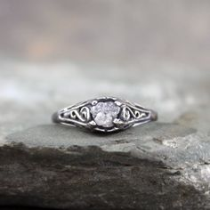 Antique Style Rough Diamond Engagement Ring  Raw by ASecondTime, $195.00