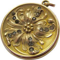 Art Nouveau Gold Filled Double Photo Locket Pendant with Paste Stones Signed Blackinton
