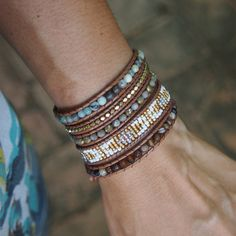 Brown Agtae beaded Wrap bracelet on Henna cord
