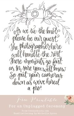 Unplugged Ceremony Sign // Denise Karis Blog // Michelle Ayres Design // Free Wedding Printable