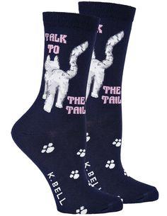 a4dbca8de8 K Bell Talk To The Tail Cat Socks One Size Womens Crew Length Cotton Blend