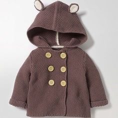 love the hood on this knitted kids jacket Fun Animal Knitted Jacket (I receive a tiny commission if you click through this link) Baby Knitting Patterns, Baby Cardigan Knitting Pattern, Knitting For Kids, Baby Patterns, Girls Sweaters, Baby Sweaters, Toddler Sweater, Baby Coat, Knit Jacket